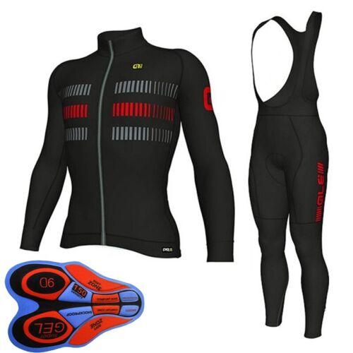 Men Team cycling Jersey bib pants 9D set long sleeve bike clothes sports Uniform
