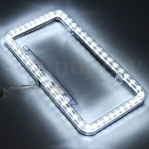 Universal-54-White-LED-Lighting-Acrylic-Plastic-License-Plate-Cover-Frame-NEW