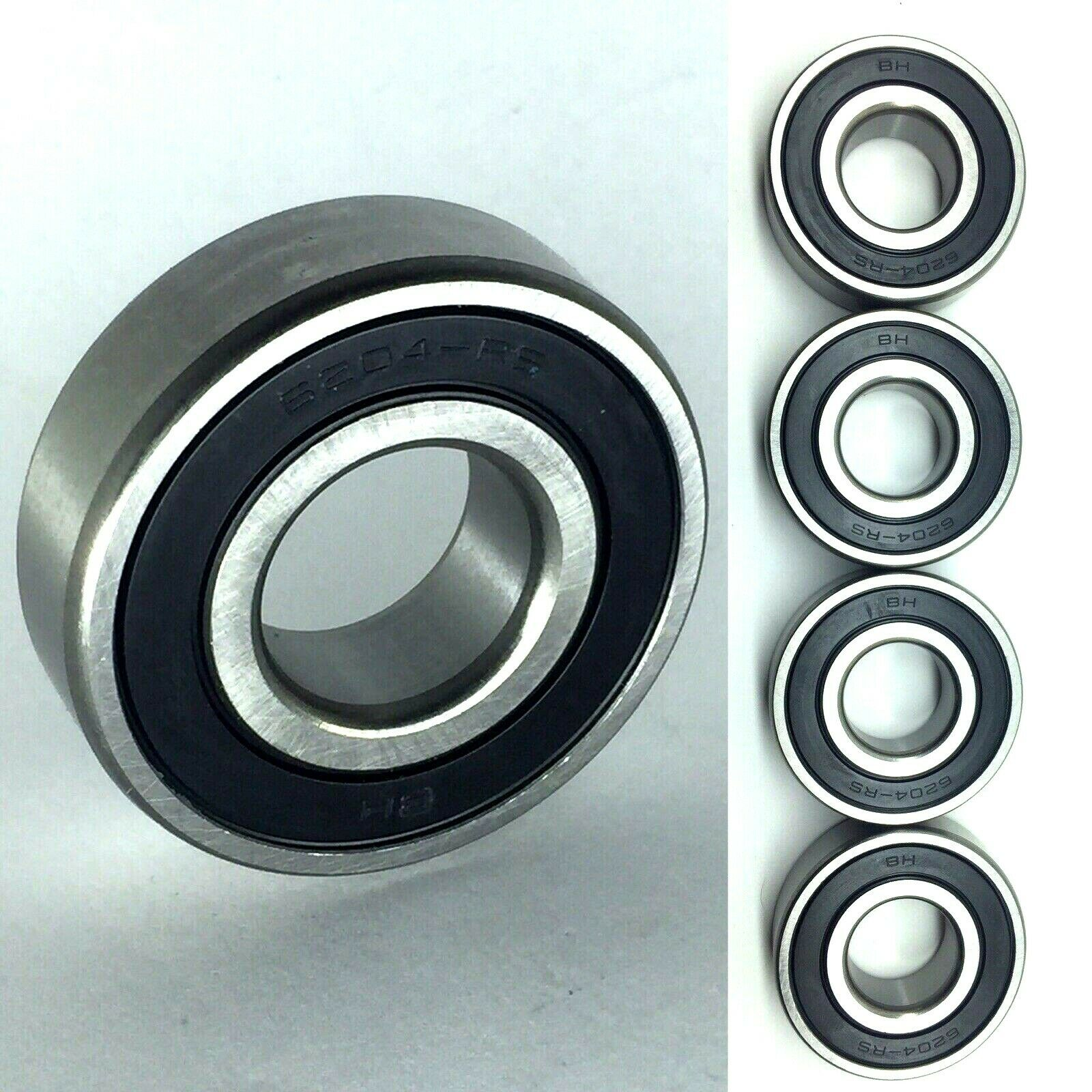2 Side Rubber Seals Qty 10 6204-2RS Premium Sealed Ball Bearings 20x47x14