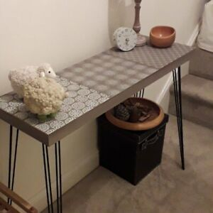 Details About Industrial Style Console Table Grey Small Rustic Sideboard Side Table Hall Stand