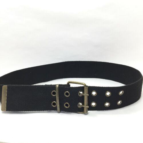 Women's Black Canvas Double Grommet Belt Size Larg