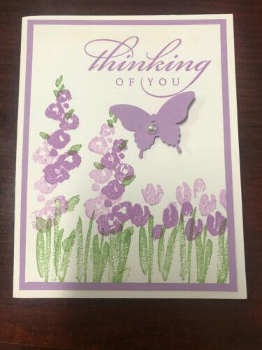 "Stampin Up Card Kit Set Of 4 /""Thinking Of You"" Purple Tulip Garden"