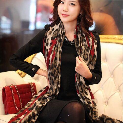 Mode Leopard Stilvolle Weiche Seidenchiffon Schal Wickelschal Frauen Schals