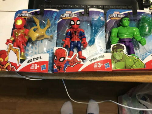 Spiderman Lot of 3 NIP Marvel Super Hero Adventures Hulk Iron Spider