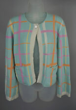 Womens Chanel Aqua Blue Plaid Cashmere Cardigan Sweater Top Twinset Size 40