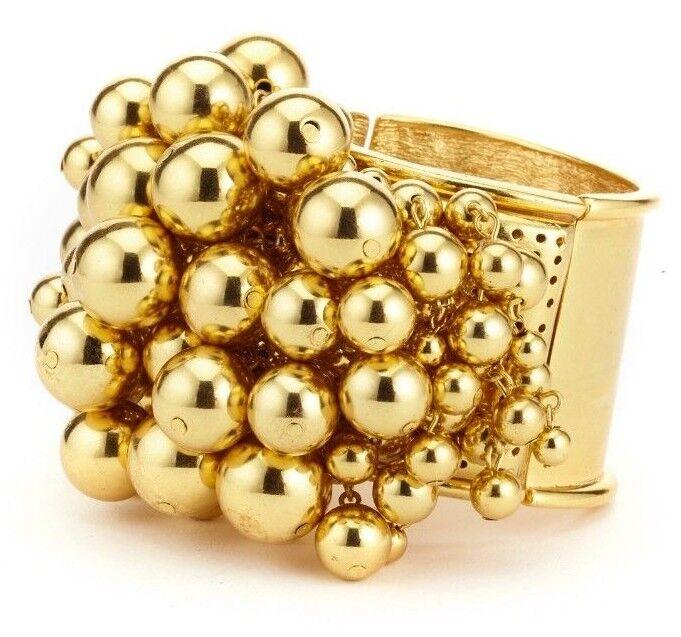 590 New Oscar de la Renta Bold Beaded Cuff Bracelet Yellow gold golden BEADS