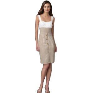 Details About Dvf Diane Von Furstenberg Sophia Loren Beige White Silk Linen Sheath Dress 2