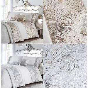 Krista Duvet Cover Set Luxury Shimmer Sequin Detail Quilt Bed Linen
