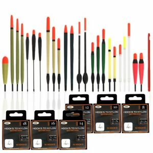 Grossier-Peche-Flotteurs-En-Tube-Avec-60-Crochets-Pour-Nylon-sezes-8-10-12-14-16-18-20