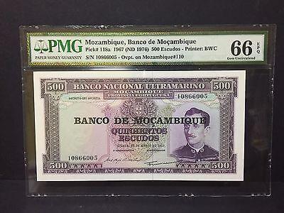 1967(nd)mozambique,banco De Mocambique 500 Escudos P-118a Pmg 66 Epq 2019 Official