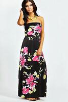 NEW LADIES PARTY FLORAL PRINT LONG MAXI DRESS SUMMER UK SIZE L BLACK WOMEN'S BOO
