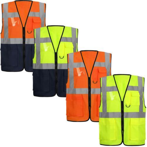 HIGH VIS VIZ VISIBILITY VEST WORK ZIP WAISTCOAT REFLECTIVE SAFETY SECURITY TOP