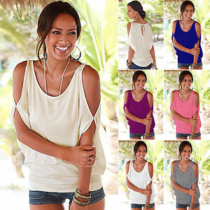 4b9f7de9d32 Image is loading Womens-Cold-Shoulder-Short-Sleeve-Blouse-Tops-Summer-