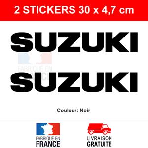 2-Stickers-SUZUKI-Autocollants-Moto-Noir-Adhesifs-Becane-Scooter-30x4-7-cm