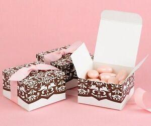 Image Is Loading 100 NEW Pink Amp Brown Damask Wedding Favor