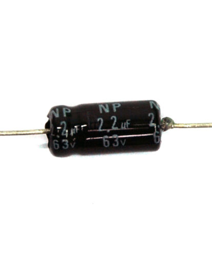 100pc Electrolytic Capacitor NPT Axial 2000hr 105℃ RoHS NP 2.2uF 63V φ6x12mm SC