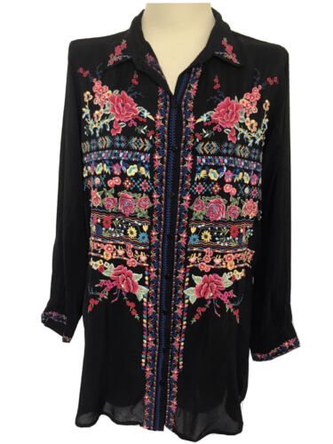 JOHNNY WAS Black Embroidered Floral Sheer Button D