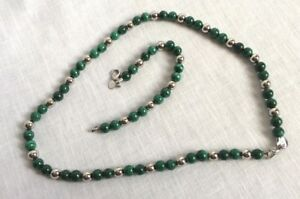 Green-Swirl-Beads-amp-Silver-Tone-Bead-Stainless-Steel-Clasp-Necklace-Bracelet-Set