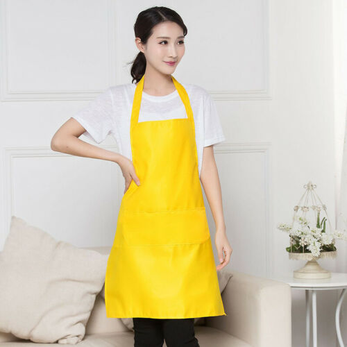 Bib Apron Solid Kitchen Pinafore Cooking Apron Dress Workwear Household Cleaning