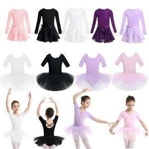 Girls-Kids-Ballet-Dance-Dress-Cotton-Gymnastics-Leotard-Sparkle-Mesh-Tutu-Skirt