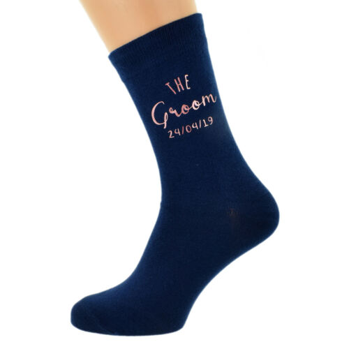 Navy Blue Rose Gold Mens and Childs Wedding Socks with Personalised Date X6N885