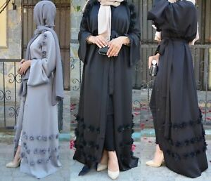d4c1d475b8 Image is loading Abaya-Dubai-Style-Muslim-Womens-Open-Front-Cardigan-