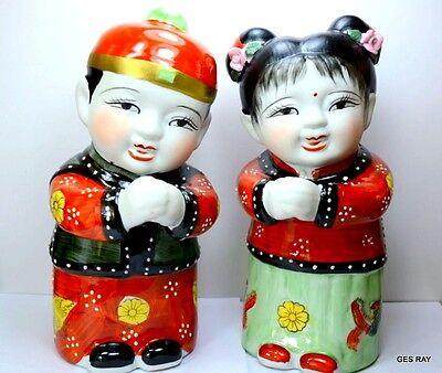 Chinese Handpainted Golden Boy Jade Girl Figurines Red White Ceramic Set of 2
