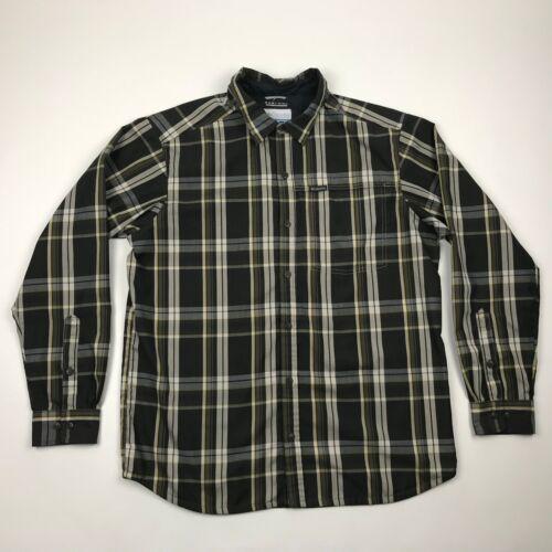 Columbia Omni Wick Men Multi Color Plaid Long Sleeve Outdoor Hiking Shirt sz L