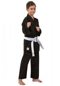 Dax-Sports-KINDER-KARATEANZUG-BEGINNER-SCHWARZ-Karate-Gi-Kimono-Gr-120-170cm