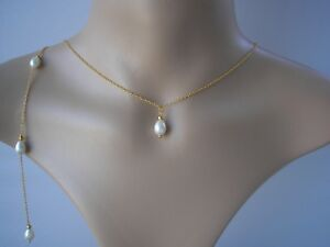 9f7b2e6fb1b87 Details about Teardrop Pearl Backdrop Necklace Back Chain Bridal Bridesmaid  Wedding Party V7B