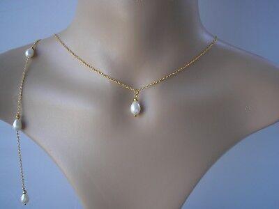 140916752821c Teardrop Pearl Backdrop Necklace Back Chain Bridal Bridesmaid Wedding Party  V7B | eBay