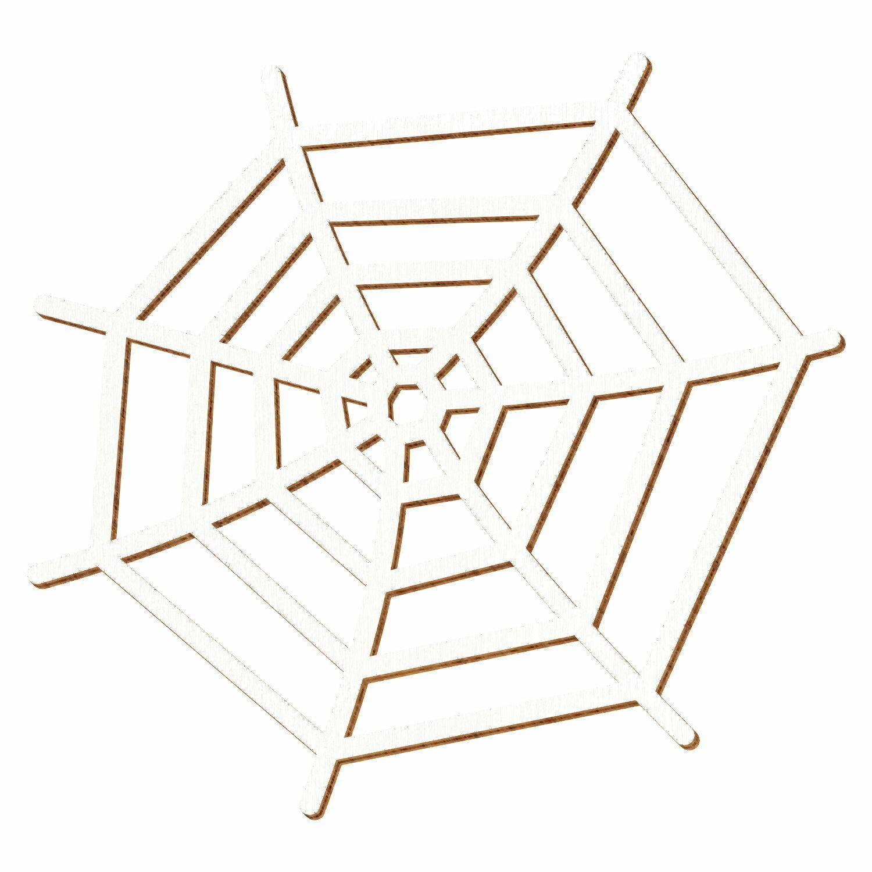 Weißes Holz Spinnennetz - 5-50cm Höhe - Streudeko Basteln Deko Tischdeko