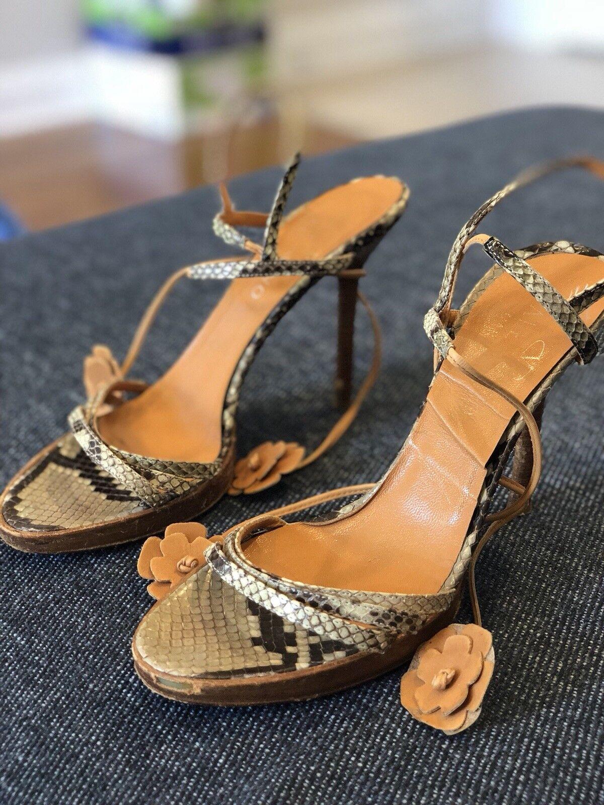 Valentino Heels Heels Heels in light Blau, snake skin inlay and print on straps 227ae6