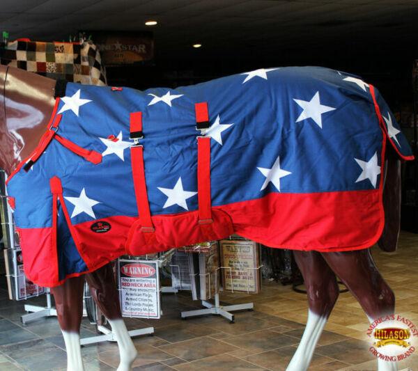 "70/"" HILASON 1200D WATERPROOF WINTER HORSE HOOD BLANKET BELLY WRAP AMERICAN FLAG"