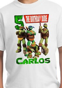 Personalized TMNT Birthday Shirt Custom Matching Family T-shirt Teenage Turtles