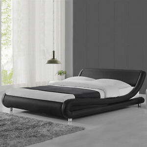Image is loading Modern-Cool-Designer-Bed-Frame-Black-White-Double-
