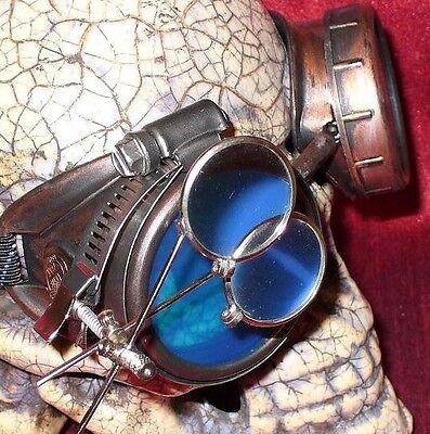 Steampunk Goggles Glasses magnifying lens Blue Old red novelty biker