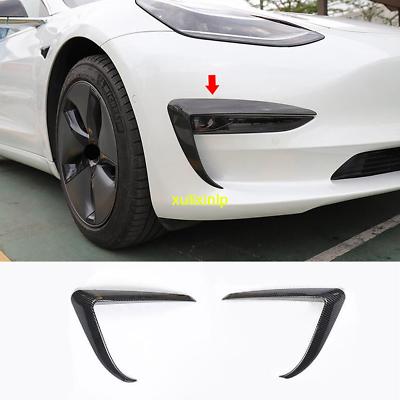 Xipoo Fit Tesla Model Y Fog Light Trim Front Fog Light Cover Eyebrow Cover Trim Frame Exterior Decoration for 2020 Tesla Model Y Accessories Black