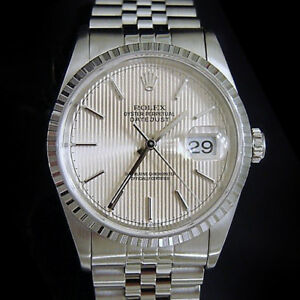 Rolex-Datejust-Men-Stainless-Steel-Jubilee-Band-Silver-Tapestry-Dial-Watch-16220