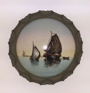 Antique-Pewter-and-Porcelain-Tea-Trivet-With-Sailing-Ship-Painted-Nautical-Scene