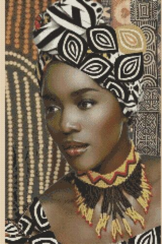 Cross stitch chart tribale africana Lady Elegance No.426 18 Flowerpower 37-uk
