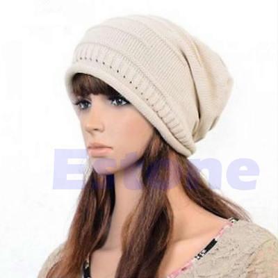New Winter Unisex Oversized Slouch Cap Plicate Baggy Beanie Knit Crochet Ski Hat