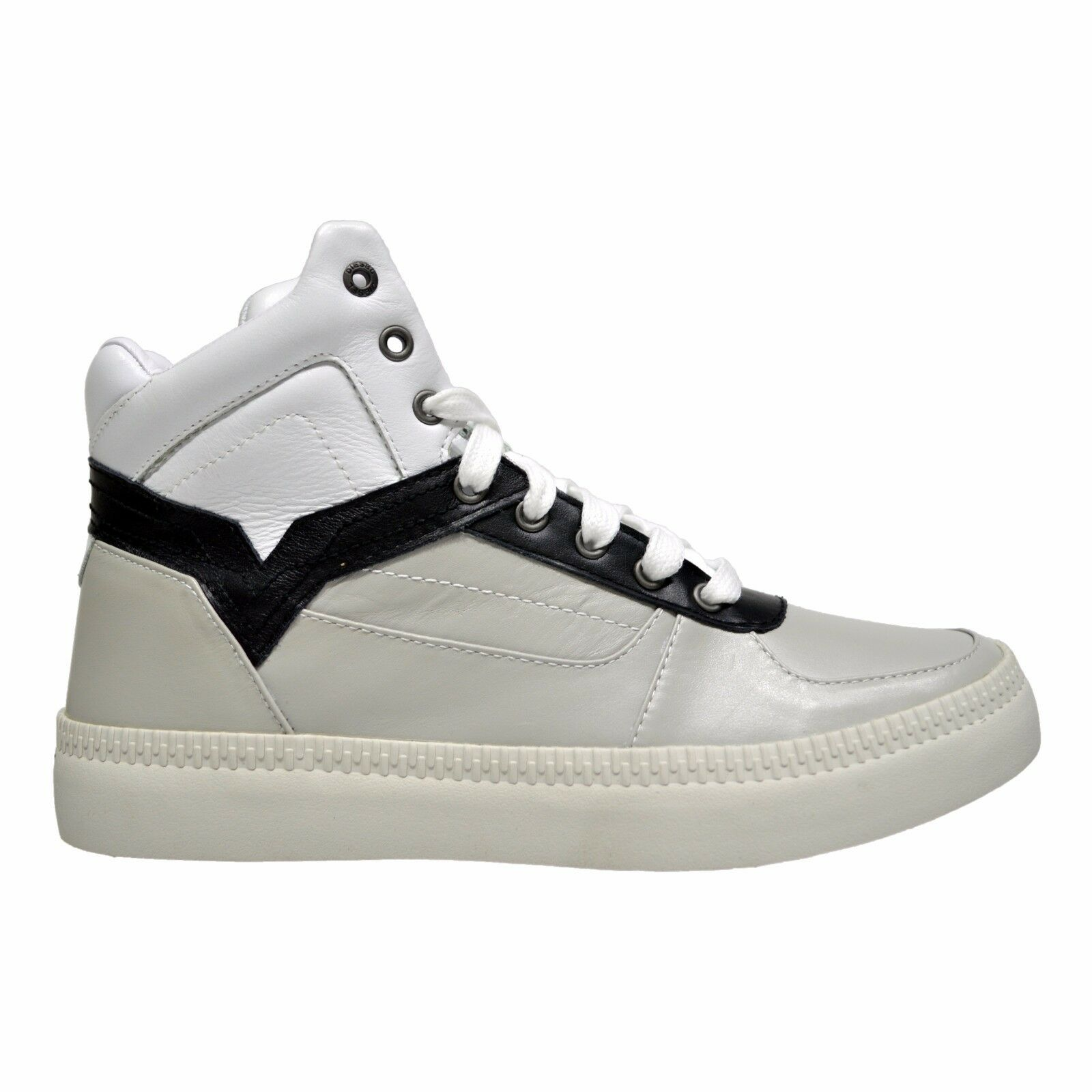 Diesel S-Spaark Mid Men's High Top Leather Fashion Sneakers Light Grey White