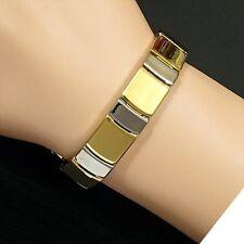 Magnetic Tungsten Unisex Arthritis CTS RSI 24K 2Tone Gold & Rhodium PLT Bracelet