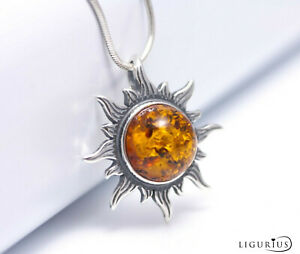 NATURAL-BALTIC-AMBER-Jewellery-STERLING-SILVER-925-Sun-PENDANT-NECKLACE-amp-Box