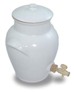 Vinaigrier En Gres Artisanal Blanc Neuf 3 Litres Francais Robinet