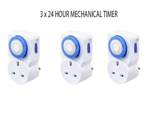 24 H Compact Puissance Mécanique PRO Plug Timer Switch Socket 16 A UK 220V-240V