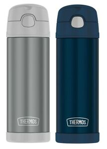 2-PACK Thermos Stainless Steel Insulation Bottle Funtainer, Grey & Navy Blue