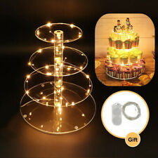 Cupcake Holder Dessert Tower Display 4 Tier Round, e Yellow Cupcake Stand with lights
