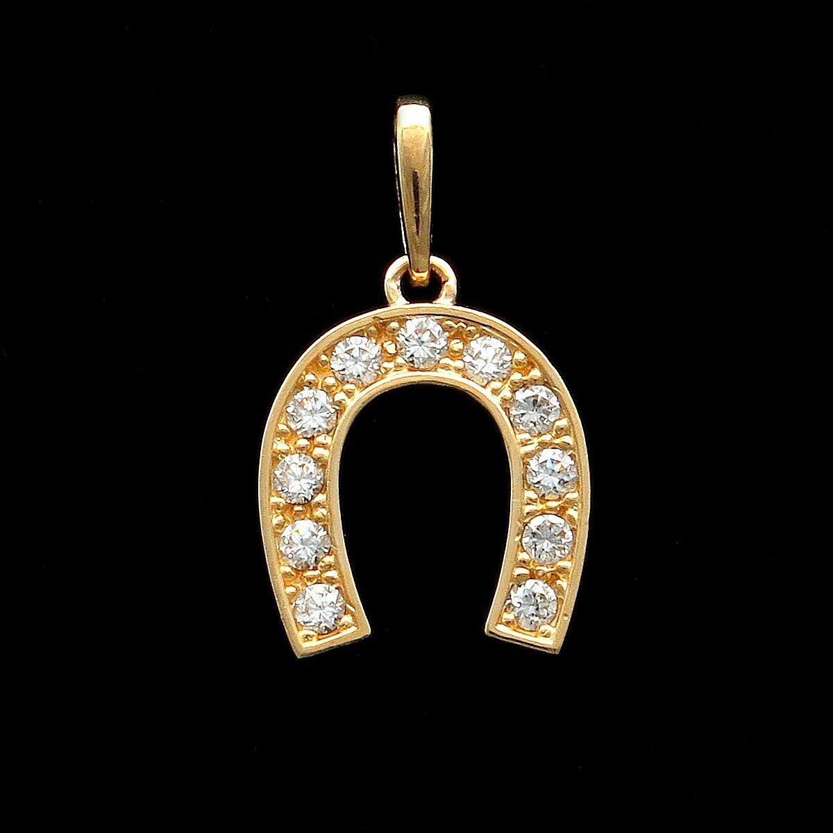 0.25Ct Round Cut Brilliant Horseshoe Pendant 14k Yellow gold Charm for Chain